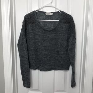 Abercrombie & Fitch Gray Knit Crochet Sweater Top